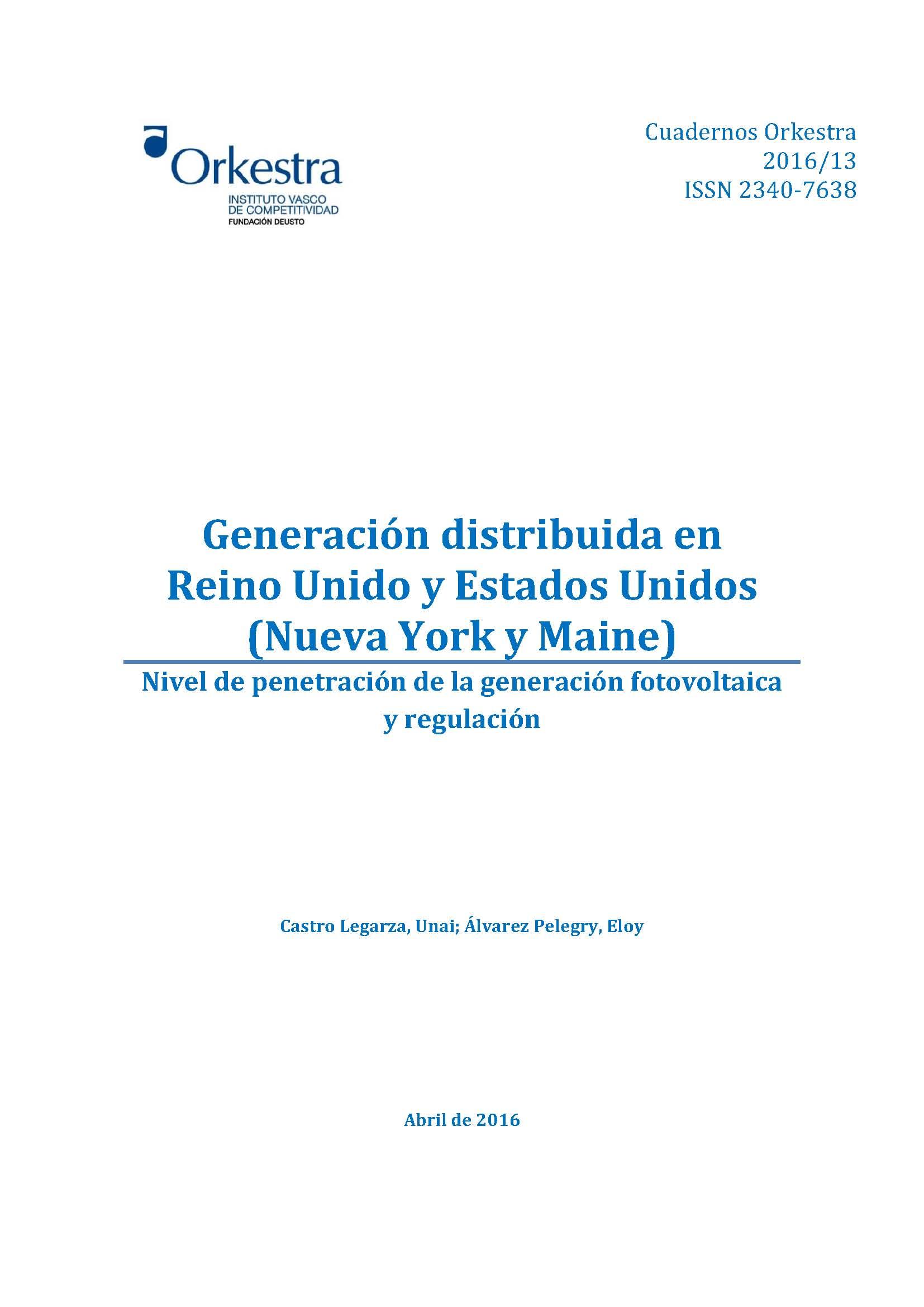 Generación distribuida en Reino Unido y Estados Unidos (Nueva York y ...